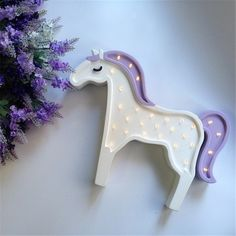Lovely 28leds LED Wood Unicorn Horse Animal Night Light Kids Bedroom Home Wall Lamp Decoration Star Children's Day Gift 2 Colors
