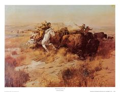Buy Indian Buffalo Hunt 1897 oil painting reproductions on canvas. Museum quality hand-painted Charles M Russell replica canvas. American Indian Art, Native American Art, American Artists, American Indians, Pictures To Paint, Art Pictures, Charles Marion Russell, Famous Art Paintings, Indian Paintings
