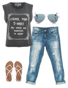 """""""Jeans and Black graphic t-shirt"""" by lotchen2013 on Polyvore featuring Sans Souci, Wildfox, Cutler and Gross and Billabong"""