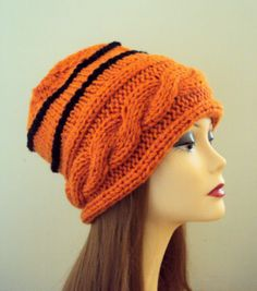 Knit Slouchy Beanie Cabled Cinnamon Orange Hat Beanie Tam Women Men Teen to Adult Fall Winter Clothing Accessories Gift Ideas Under 50 Orange Hats, Orange You Glad, Slouchy Beanie, Fall Harvest, Clothing Accessories, Knits, Crocheting, Knitted Hats, Winter Outfits
