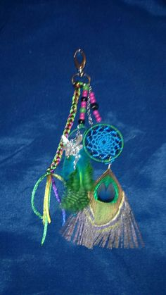 Aura's Peacock Hues Dreamcatcher Baghanging Bagcharm