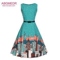 e08caf640213 City and Stars Printed Teenage Girls Dress Girls Baby Kids Clothing Big  Children Clothes Monsoon Girls Teens Dress for Yrs
