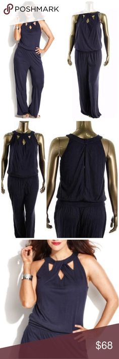 List! INC Twist Front Navy Halter Jumpsuit! NEW! Gorgeous Jumpsuit! Has beautiful cross-front straps and slit back. A 5 in black! Location: closet 4 INC International Concepts Pants Jumpsuits & Rompers