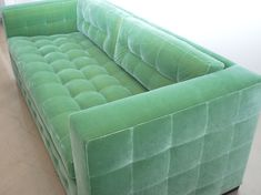 The Cozy Tufted Couch: Spectacular Beauteous Green Velvet Tufted Sofa With Two Cushion