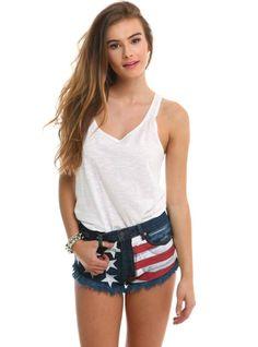 American Flag Cutoff Shorts