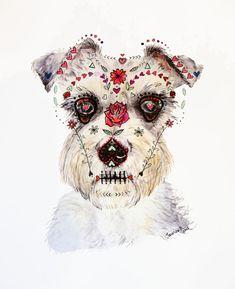 Azúcar cráneo Schnauzer pintura: técnica mixta día de los
