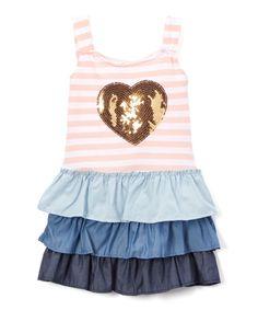 Apricot & Blue Ruffle A-Line Dress - Infant Toddler & Girls