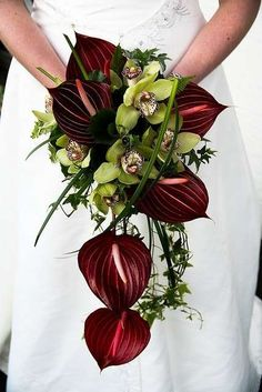 Bouquet da sposa con Anthurium rossi