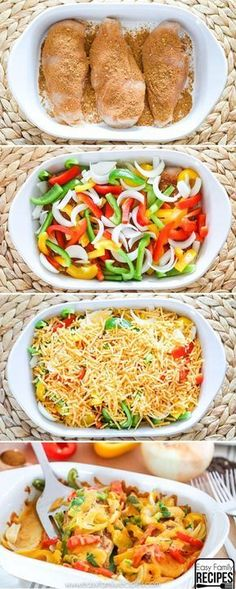 Chicken Fajita Bake- So easy and delicious! dinner chicken Easy Baked Chicken Fajitas- Healthy and Delicious- Easy Family Recipes Baked Chicken Fajitas, Easy Baked Chicken, Chicken Fajita Casserole, Healthy Chicken Dinner, Easy Supper Ideas Chicken, Chicken Dinner Meals, Baked Chicken Seasoning, Baked Chicken And Veggies, Food Dinners