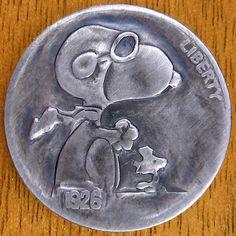 ANDY GONZALES HOBO NICKEL - SNOOPY - 1926 BUFFALO NICKEL