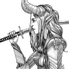 #demonwarrior #katana #demongirl #armor #blackandwhite #ink #illustration Demon Girl, Katana, My Arts, Ink, Comics, Illustration, Instagram, Character Design, Illustrations