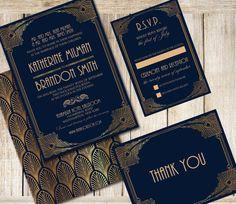 Invito a nozze invito Set - invito Art deco DYI stampabile - Glamour nozze stampabile on Etsy, 24,96€