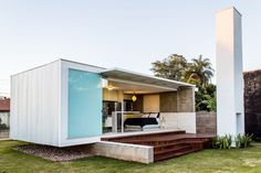 Modern tiny white shipping container home