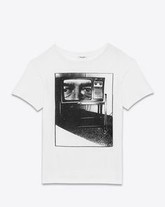 saintlaurent, T-SHIRT IN White and Black 'THE LATE NIGHT MOVIE ON TV' PRINTED COTTON