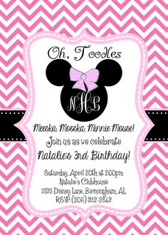 minnie mouse oh twodles oh toodles birthday party facebook event, invitation samples