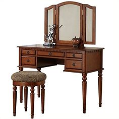Bedroom Makeup Vanity Set With Vanity Table, Folding Mirror And Vanity Stool In Walnut Finish. Mirrored Vanity Table, Vanity Table Set, Vanity Set With Mirror, Vanity Stool, Wood Vanity, Mirror Desk, Vanity Mirrors, Bedroom Makeup Vanity, Makeup Vanity Set
