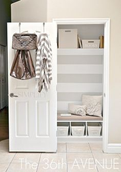 Transform the front entry closet into a mudroom/drop-off station. So smart because who ever even uses their front closet for anything other than the vacuum anyways? LOVE THE USE OF BACK OF DOOR. Entry Closet, Front Closet, Hall Closet, Closet Bedroom, Closet Nook, Closet Redo, Closet Paint, Closet Bench, Painted Closet