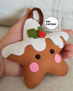 This listing is for an instant-download PDF-PATTERN. It is not a finished toy. Finish size: 13 cm (5.1 inches) tall Language: English This darling felt ornament is stitched entirely by hand, and is the perfect pattern for beginners. THIS PDF e-Pattern includes (2 files): . Step by