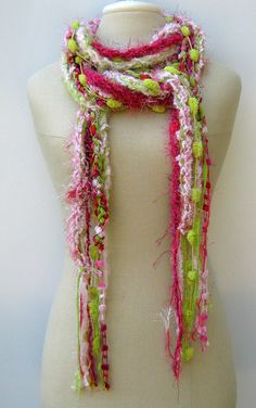 Pink Lime Gypsy Fringe Braids Scarf skinny by PurpleSageDesignz, $ 18.00
