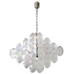 Vistosi Iridescent Discs Large Chandelier | From a unique collection of antique and modern chandeliers and pendants  at https://www.1stdibs.com/furniture/lighting/chandeliers-pendant-lights/