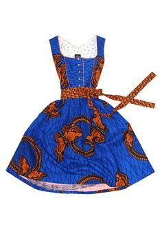 What a great mix of blue and orange! This Noh Nee dirndl comes in a great African fabric!