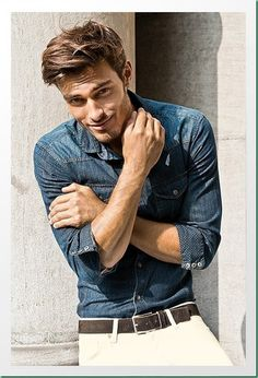 1166c269 Blue Denim Shirt White Pants: a nice pairs. Wear with brown mocassin shoes  or your favorite blue sneakers.