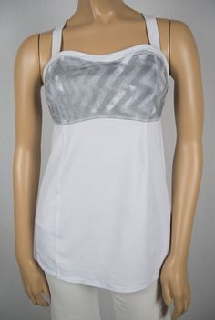 LULULEMON White Gray Criss Cross Tank Top 8 M Pilates 3 Adjustable Strap Support