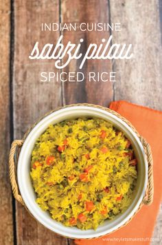 Sabzi Pilau, an Indian spiced rice dish, is a perfect accompaniment to other ethnic food dishes, and it's super simple to make -- and beautiful on a table! Homemade Mozzarella Sticks, Chinese Lemon Chicken, Crescent Roll Pizza, Honey Glazed Ham, Spiced Rice, Mushroom Burger, Rice Dishes, Food Dishes, Veggie Dishes