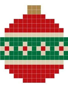 Bola navidad Christmas Perler Beads, Beaded Christmas Ornaments, Christmas Cross, Hama Beads Design, Hama Beads Patterns, Beading Patterns, Xmas Cross Stitch, Cross Stitch Cards, Cross Stitch Patterns