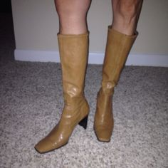 Nine West Leather Faux Soft Tall Boots Camel Tan Size 9 (M) Womens Slip ons #NineWest #boots