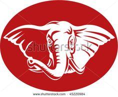 vector artwork illustration of a head of an african elephant #elephant #retro #illustration