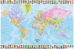 World map triple projection framed maxi poster world maps world map classroom school educate continents countries rare poster print gumiabroncs Images