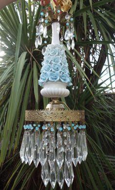 1o2-Porcelain-blue-barbola-Rose-Brass-chandelier-Swag-vintage-lamp-crystal-prism