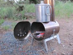 Hill People Gear | Make your own woodstove.  Its body is a stainless steel silverware canister from WalMart.
