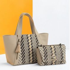 Go graphic with the Alexa tote and Anouk day bag, both available in beautifully graphic and textured woven tweed - a pattern that makes them ideal pieces to mix and match with your favorite looks. Day Bag, Tweed, Handbags, Tote Bag, Embroidery, Spring, Summer, Pattern, Cotton