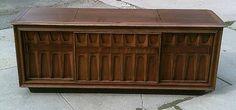 Mid century brutalist-style RCA New Vista walnut stereo console