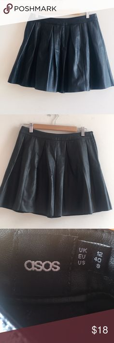 ASOS pleated skater skirt Vegan leather polyester Skirt with box pleats without pockets. Excellent condition. Size 8 would look great with tights  can also be worn as a high waisted mini. Length = 16 inches ASOS Skirts Circle & Skater