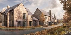 Bespoke contemporary housing development in Sacriston, County Durham, delivering a range of two to four bedroom family homes. Building Rendering, Building Concept, Rural House, House In The Woods, Small House Design, Modern House Design, Rendered Houses, Manor Farm, Arch House
