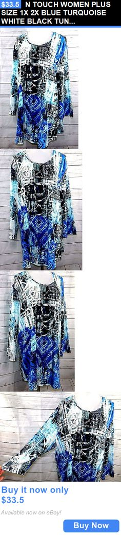clothing and accessories: N Touch Women Plus Size 1X 2X Blue Turquoise White Black Tunic Top Blouse Shirt BUY IT NOW ONLY: $33.5