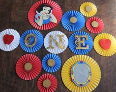 Snow White Inspired Paper Rosettes, Princess Party Decorations, Snow White Birthday by LanvisB on Etsy https://www.etsy.com/listing/194060692/snow-white-inspired-paper-rosettes