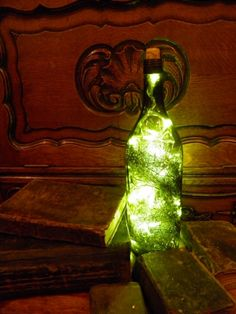 Decorative lamp from wine bottle