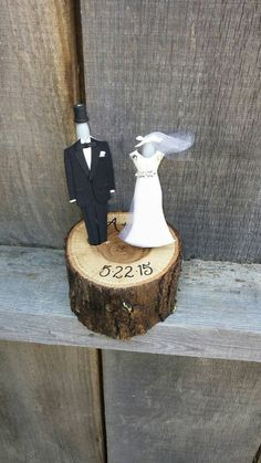 Rustic wedding pen holder and bride and groom dressed sharpies