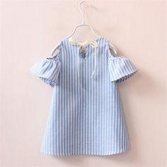 Verano de la muchacha rayó el vestido de los vestidos de los niños para las muchachas del partido de la princesa cumpleaños de los niños del vestido de vestidos de la madre y Niños en AliExpress.com | Grupo Alibaba