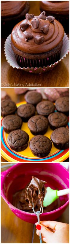 Dark chocolate cupcakes topped with dark chocolate frosting. Chocolate lovers only!