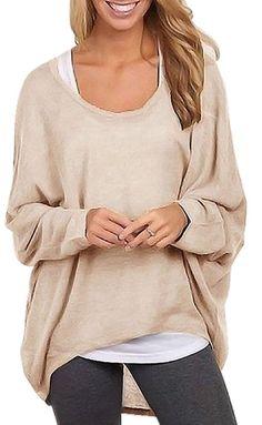 Damen Lose Asymmetrisch Sweatshirt Pullover Bluse Oberteile Oversized Tops Outfit lässig bequem locker Style Hier kommst du zum Style: