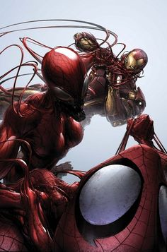 Carnage vs Spiderman and Iron Man - artist Clayton Crain
