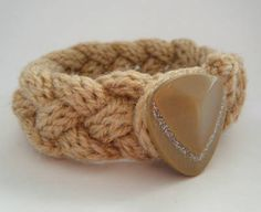 Hand knitted bracelet - lots of colours available.