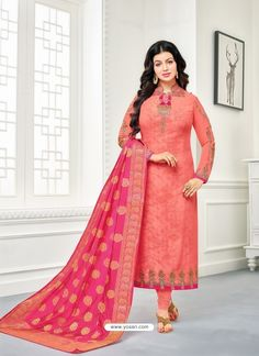 Become all rage in this Ayesha Takia peach color georgette churidar suit. The lace and resham work appears to be like chic and great for any event. Ethnic Suit, Indian Ethnic Wear, Churidar Suits, Anarkali Suits, Bollywood Dress, Bollywood Fashion, Salwar Kameez Online, Sarees Online, Pakistani Suits