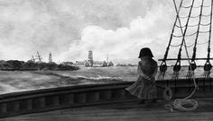 "Napoleon approaching the Balize, Louisiana. Frontispiece by Matt Dawson for ""Napoleon in America"" by Shannon Selin (January 2014)."