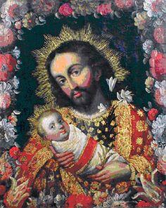 """""""San José con el Niño Jesús"""" Escuela cuzqueña. Siglo XVIII.             Óleo/ lienzo.Medidas: 51 x 41 cms."""